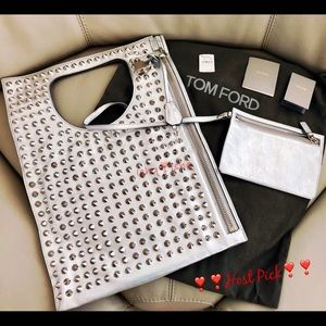 Tom Ford Alix Studded Metallic Shoulder Bag Clutch